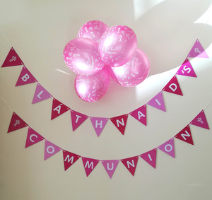 Girl's Pink Confirmation or Communion Triangular Bunting